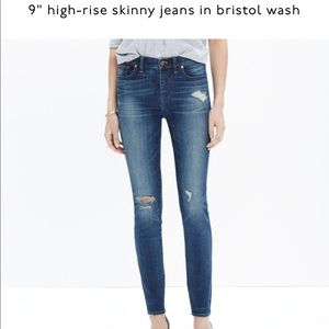 "Madewell 9"" High Rise Skinny in Bristol wash."